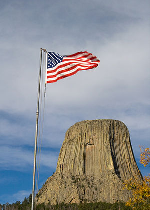 United States Flag and Devil's Tower National ...