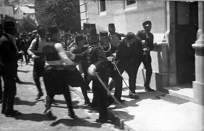 Gabro Princip just arrested by police, after his successful attempt on the life of Prince Franz Ferdinand of Habsburg in Sarajevo.