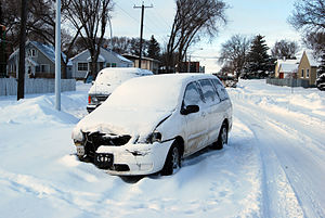 Abandon vehicle after joyride in winter. Edmon...