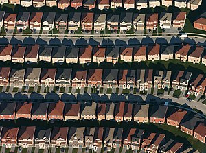English: An aerial view of housing development...
