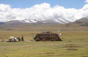 A contemporary Tibetan nomadic tent near Namts...