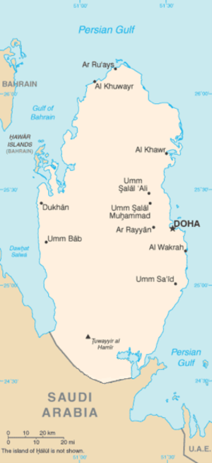 Map of Qatar.