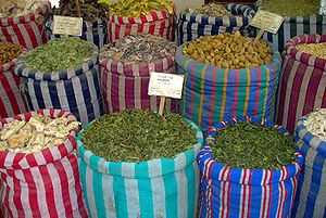 Sacs of spices, Bab el Khalq, Cairo, Egypt