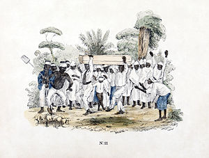 Funeral at slave plantation, Suriname. Colored...