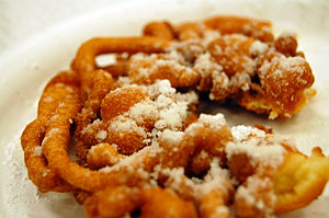 C-shaped funnel cake