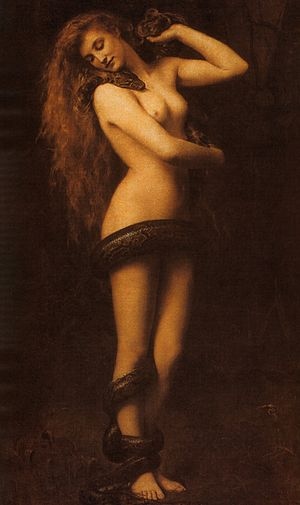 Lilith, oil on canvas by carved by John Collie...