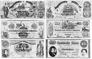 6 Confederate States of America currency notes...