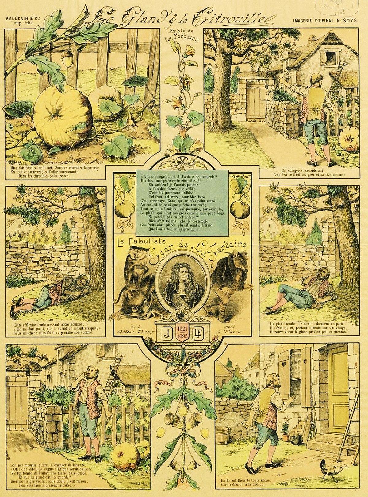 Le Gland Et La Citrouille : gland, citrouille, File:Fables, Fontaine, Epinal, Gland, Citrouille.jpg, Wikimedia, Commons