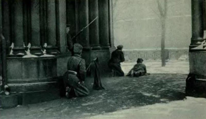 Street fighting in Petrograd in February 1917.