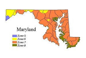 The 2003 USDA Hardiness Zone map of Maryland.
