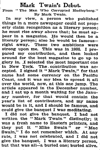 Mark Twain Essay File New York Times Mark Twain S Debut American