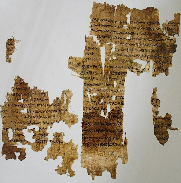 Sappho's recently discovered poem on old age from an exhibit of the Altes Museum. Image from Wikimedia Commons.