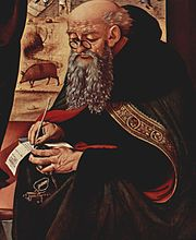 Painting of Saint Anthony with pig in background by Piero di Cosimo c. 1480