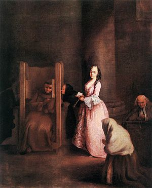 The confession, by Pietro Longhi, ca. 1750