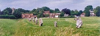 English: Avebury Henge and Village, England Ph...