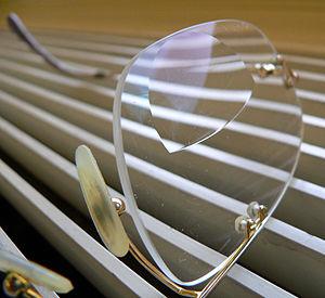 A bifocal corrective eyeglass lens