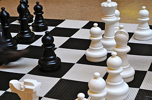 English: A large chess game inside Enoch Pratt...