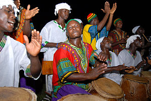 English: A group of drummers in Accra, Ghana, ...