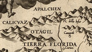 English: Detail of Diego Gutiérrez's 1562 map ...