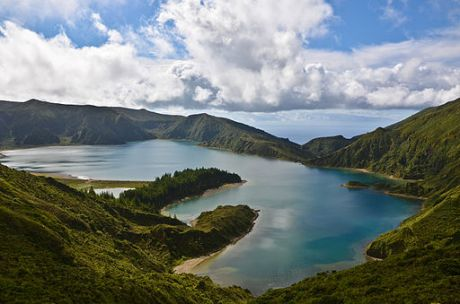 Lagoa do Fogo on Sao Miguel in the Azores of Portugal on the planet Earth