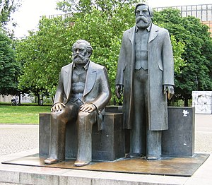 Karl Marx and Friedrich Engels monument in fro...