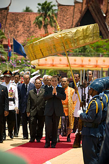 King Norodom Sihamoni at the Royal Ploughing Ceremony in Phnom Penh.