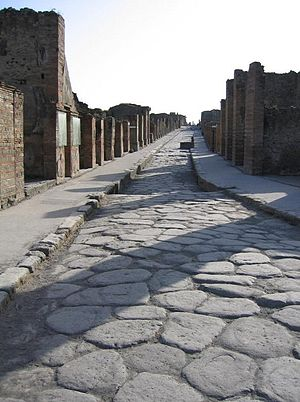 A paved Roman road in Pompeii, Italy.