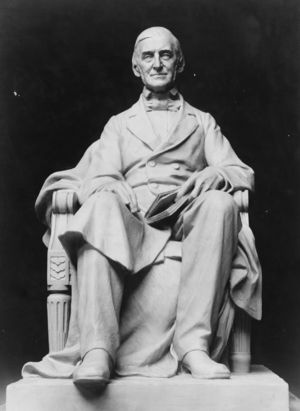 Statue of Ralph Waldo Emerson, full-length, se...