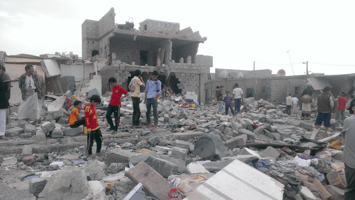 This neighborhood where more than 100 buildings have been damaged has brought attention to the plight of Yemeni blacks with neighboring communities coming to witness the damage - Sanaa - Oct-9-2015