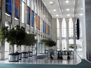 A photo of the World Trade Center lobby taken ...