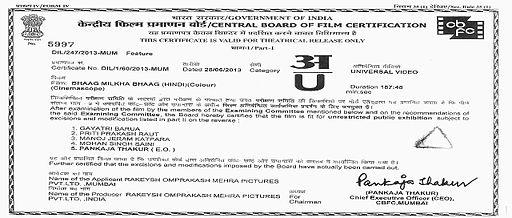 Bhaag Milkha Bhaag CBFC Certificate