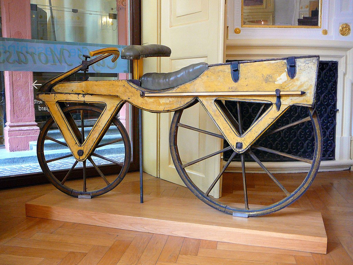 wooden bicycle with two wheels