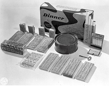 English: K-ration dinner unit. The K-ration wa...