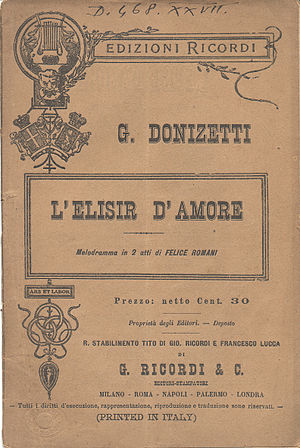 Front page of the libretto published by editio...