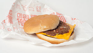The McDouble, a cheeseburger from McDonald's.