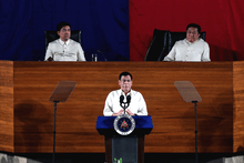 Duterte delivering his first State of the Nation Address at the Batasang Pambansa with Senate President Aquilino Pimentel III and House Speaker Pantaleon Alvarez on July 25, 2016