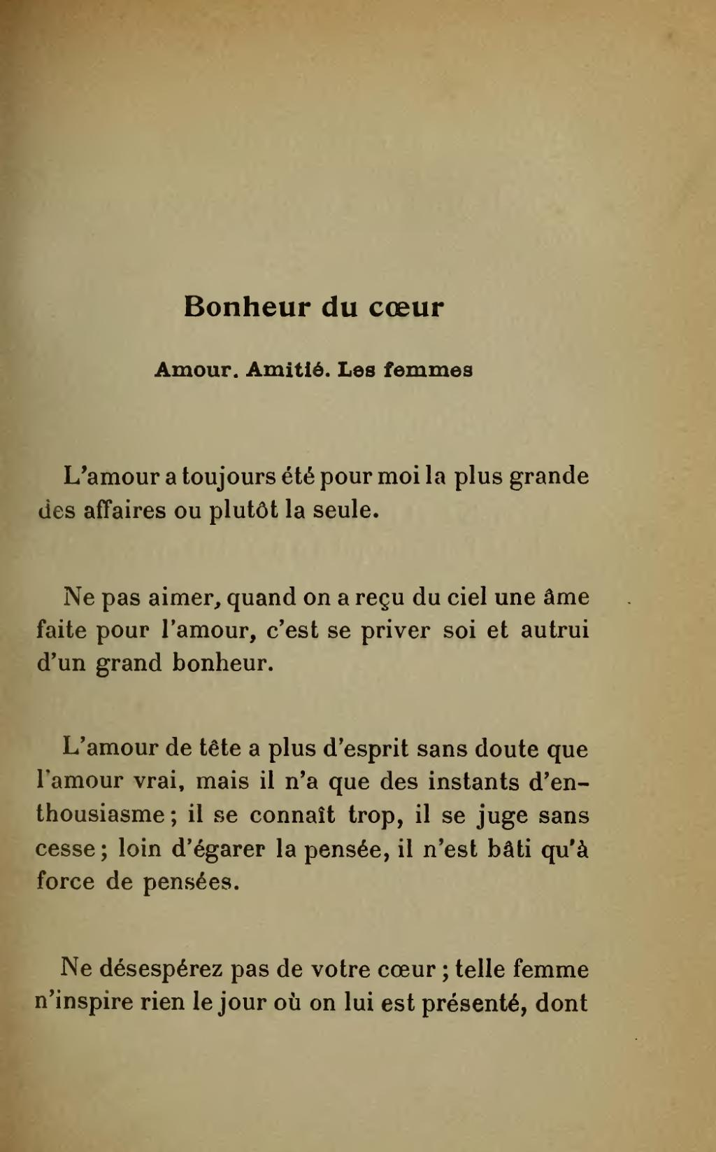 Qu Est Ce Que L Amour Vrai : amour, Page:Stendhal, Chasse, Bonheur,, 1912,, Séché.djvu/71, Wikisource
