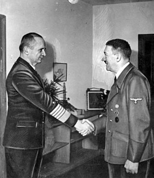 Hitler meets Admiral Dönitz in the Führerbunker in Berlin