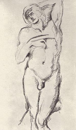"""Deutsch: Studie nach Michelangelos """"Sklav..."""