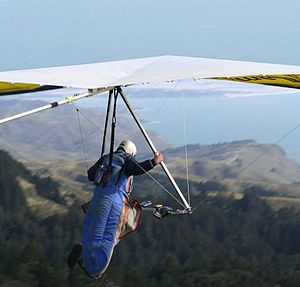 Hang glider launching from Mount Tamalpais