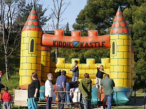 An inflatable castle type of moonwalk.