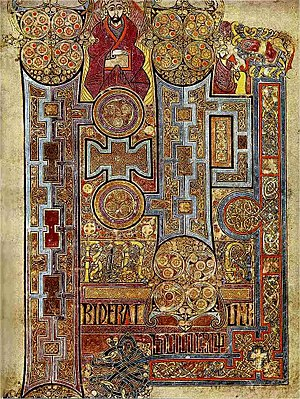 Book of Kells, Folio 292r, Incipit to John. In...