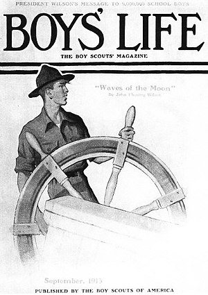 English: Scout at Ship's Wheel by Norman Rockw...