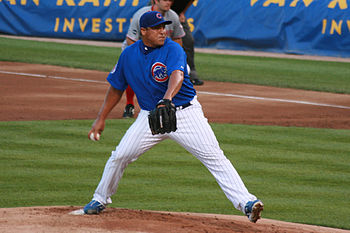 English: Carlos Zambrano of the Chicago Cubs p...