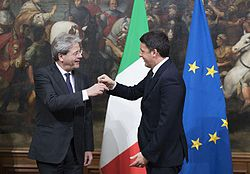 Gentiloni with former Prime Minister Matteo Renzi during the swearing ceremony.