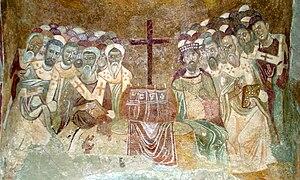 English: Byzantine fresco representing the fir...