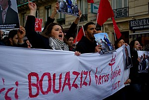 A french protest in support of Mohamed Bouaziz...