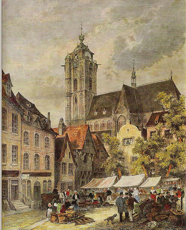 Etching of the view on the marketplace in Duisburg by Theodor Weber, 1850