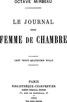 Le Journal D'une Femme De Chambre Livre : journal, d'une, femme, chambre, livre, Diary, Chambermaid, (novel), Wikipedia
