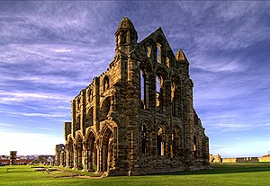 Ruins of Whitby Abbey in North Yorkshire, England.